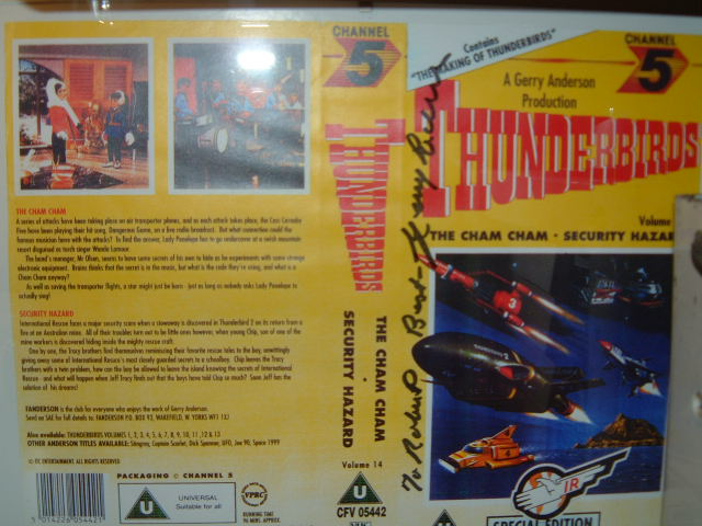 Thunderbirds VHS sleeve signed by Gerry Anderson